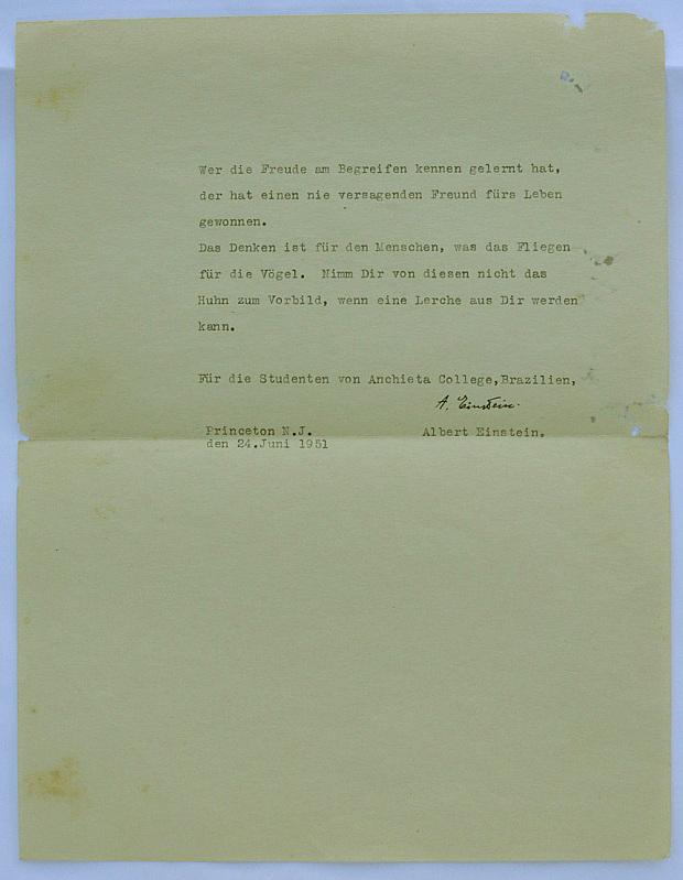 Carta de Albert Einstein Porto Alegre - colegio Anchieta