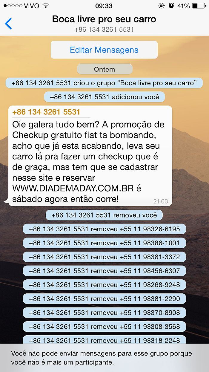 ação do whatsapp da Grupo Sinal de Diadema - SP - INVASIVA